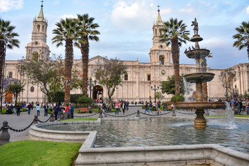 Views of the Plaza de Armas, Basilica Cathdral and colonial buildings in Arequipa, Peru
