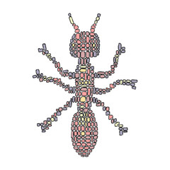 and drawn vector illustration in Mondriaan (Mondrian) style isolated pink ant on a white background