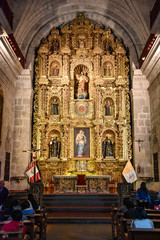 Arequipa, Peru - October 6, 2018 - Interior of Jesuit Church La compania. One of the oldest in the city noted for its ornate facade and main altar covered in gold leaf.