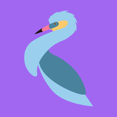 whistling heron , stylized vector illustration, profile