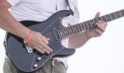 Man playing electric guitar with his hands