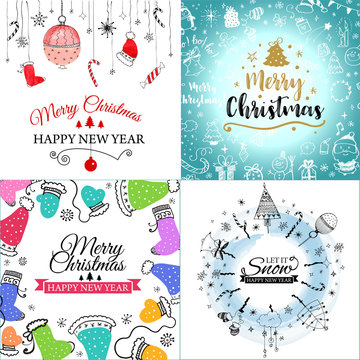 Merry Christmas greeting card set with cute xmas tree, santa and deer retro designs. Includes holiday themed seamless patterns. EPS10 vector.