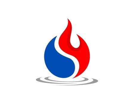 Yin Yang of Fire and Water Logo Template