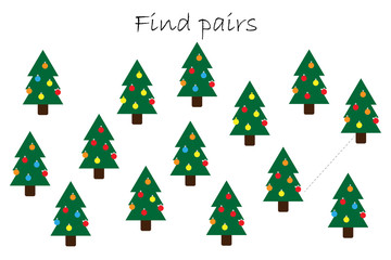 Find pairs of identical pictures, fun education game with christmas trees for children, preschool worksheet activity for kids, task for the development of logical thinking, vector illustration