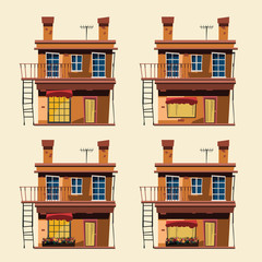 building set in city vector illustration