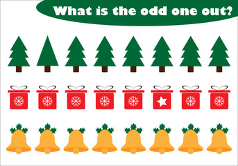 What is the odd one out for children, christmas theme in cartoon style, fun education game for kids, preschool worksheet activity, task for the development of logical thinking, vector illustration