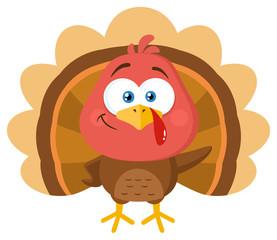 Cute Turkey Bird Cartoon Character Waving. Vector Illustration Flat Design Isolated On White Background