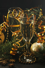 Two glasses with champagne in New Year Eve