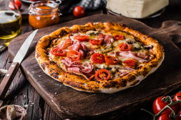 Rustic old style vintage pizza