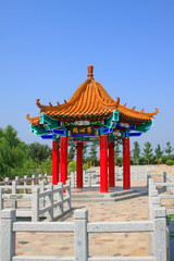traditional Chinese architectural style pavilion in the countryside, China