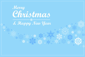 Merry Christmas. Cute Snowflakes on Blue Background.