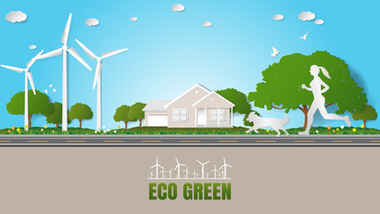 Paper folding art origami style vector illustration. Green energy ecology technology power saving environment friendly concepts Woman and dog jogging on road through her house near green village parks