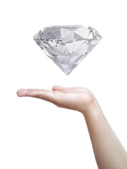 Man hand holding diamond over white background