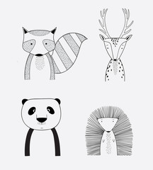 Cartoon cute animals many a highlight.Vector illustration of animal faces.Doodle art concept,illustration painting