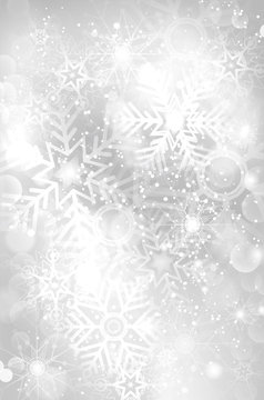 Abstract silver christmas background with shiny snowflakes