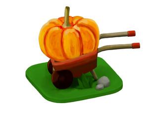 pumpkin in a wheelbarrow illustration