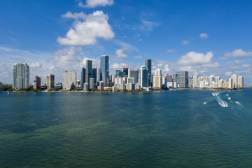 View at Miami's embankment on blue sky background