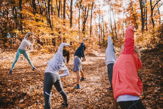 Small group of people exercise in woods.