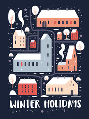 Christmas and Happy New Year. Map of winter city with houses of European architecture and with snow-covered trees. Variety of cozy houses with red roofs under snowfall. Vector colorful illustration.