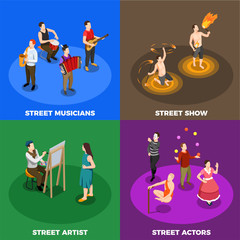 Street Artist Isometric Design Concept