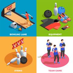 Fototapete - Bowling Isometric Design Concept