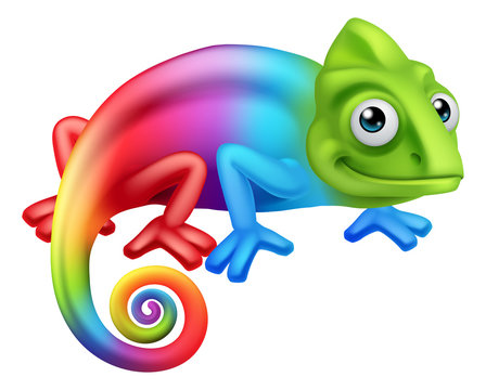 A chameleon lizard rainbow color cartoon character graphic illustration
