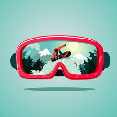 Snowboard protective mask with snowboarder on reflection. Mountain sky glasses. Extreme sport vector background.