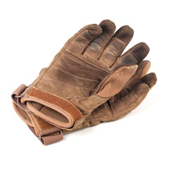 old gloves, leather, brown, isolated on white
