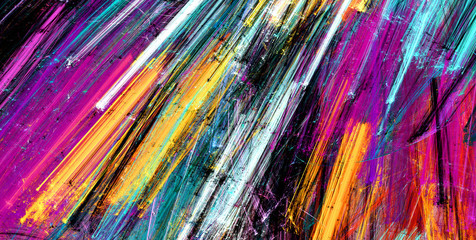 Bright artistic splashes. Abstract painting color texture. Modern futuristic pattern. Multicolor dynamic background. Fractal artwork for creative graphic design Fotoväggar