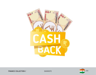 Cash back banner with 1000 Indian Rupee Banknotes and coins. Flat style vector illustration. Shopping and sales concept.