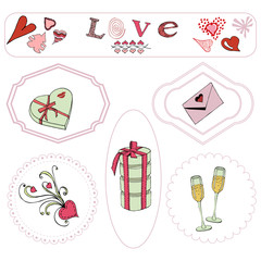 Valentine's Day theme elements. Hand drawn and colored objects in frames.