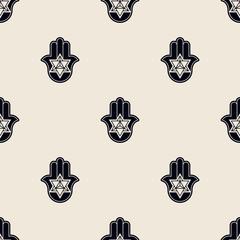 Seamless pattern with Hamsa  Kabbalah symbol  for your design