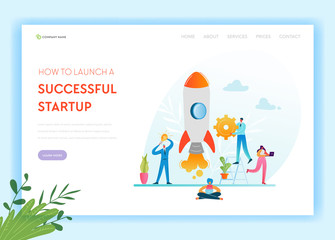 Business Startup Landing Page Template. Investment, Career Boost and Strategy Banner with Business People Characters Launches Rocket. Teamwork Innovation Web Page. Vector illustration
