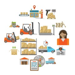 Warehouse transportation and delivery icons flat set isolated on white background