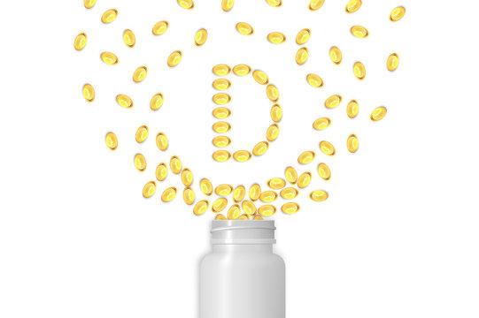 Vitamin D background. Gel pills