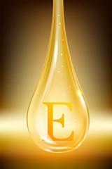 Drop oil, vitamin E. Isolated vector illustration