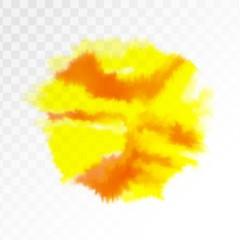 Light red and yellow watercolor spot, isolated on transparent background. Vector illustration.
