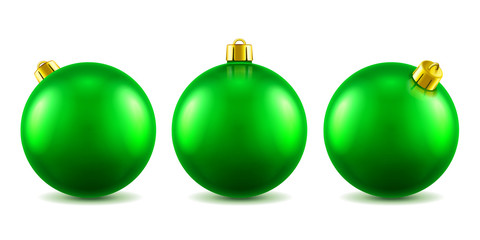 Set of isolated 3d toys for 2019 new year or realistic green baubles for ornamenting christmas tree. Volumetric Xmas spheres for holiday decoration. Winter festive and celebration theme
