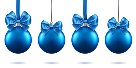 2019 christmas or new year realistic toys with bows hanging on chains. Merry christmas fir tree decorations, blue baubles with bow-knots, blue spheres for xmas holidays. Celebration theme
