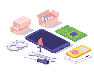 Mobile repair and service concept. Smartphone with repairman and spare parts. Isometric composition. Illustration for web sites and print. Vector illustration