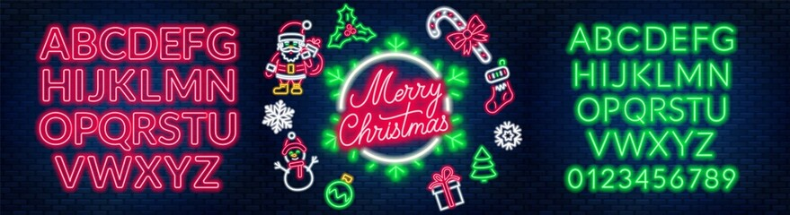 Neon signs of merry christmas, santa claus, snowman, gift, mistletoe, sweet cane, sock and others. Two alphabets on a dark background.