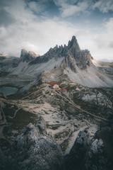 In the heart of the Dolomites. The Dreizinnenhütte in frame.