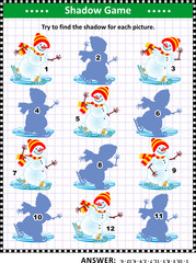 Visual puzzle or picture riddle with skating snowmen: Can you find the shadow for each picture? Answer included.