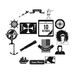 Happy Columbus Day black simple icons set isolated on white background