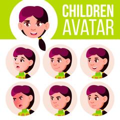 Girl Avatar Set Kid Vector. High School. Face Emotions. Children. Beautiful, Funny. Cartoon Head Illustration