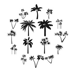 Palm tree icons set in simple style for any design