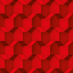 Volume realistic vector cubes texture, red geometric pattern, design background for you projects