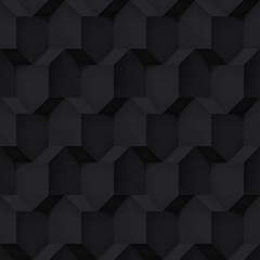 Volume realistic vector cubes texture, black geometric pattern, design dark background for you projects