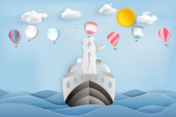 Paper art , cut and digital craft style of the lover in the boat with colorful hot air balloons on sea and sunny in the morning as romantic , married and honeymoon concept. vector illustration
