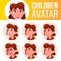 Girl Avatar Set Kid Vector. Primary School. Face Emotions. Primary, Child Pupil. Life, Emotional. Cartoon Head Illustration